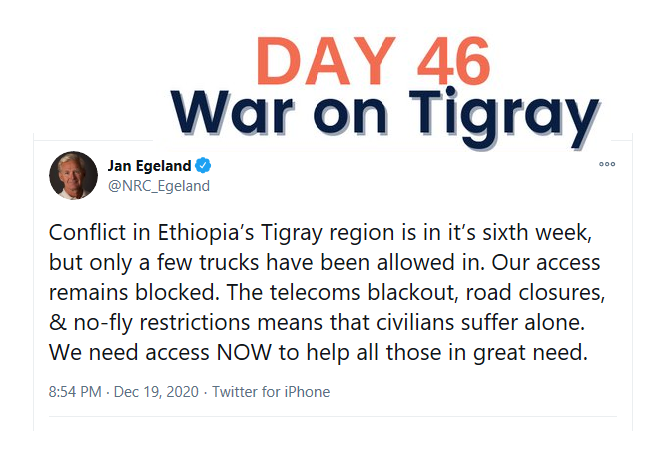 Day 46 of war on Tigray: people not receiving assistance, EU's support, Sudan